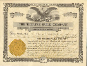 The Theatre Guild Company > 1920s New Haven Connecticut stock certificate share