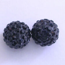 10 Jet Rhinestone clay pave 8mm beads for Shamballa Bracelets