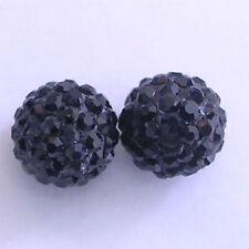10 Jet Rhinestone clay pave 8mm beads for Shamballa Bracelets