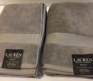 Lot Of 2 Lauren Ralph Lauren  Wescott Bath Towel 30 X 56 Cape Gray NWT