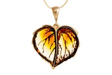 Gold-Plated Sterling Silver Leaf Pendant Necklace Baltic Amber Jewellery Jewelry