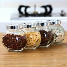 x4pcs Screw Top Clear Glass Spice Herb Display Jars Kitchen Canister Organizer