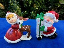 Vintage CHRISTMAS ORNAMENTS Hallmark Enesco Santa Claus Rudolph & Girl SET of 2