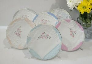 Antique Majolica Style Napkin 6 Plates  with Basket Weave