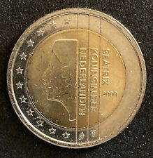 2000 Beatrix Netherlands 2 Dollars Euro 1st map Uncirculated Coin   (1833)