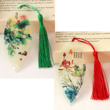 Handmade Leaf Vein Bookmarks Students Gifts Chinese paintings lotus 4pcs NEW