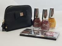 EYESHADOW & NAIL POLISH Gift Set With Black Cosmetic Bag Sparkle Glitter Colours