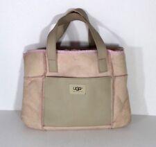 Ugg Australia Leather Suede Handled Shoulder Hobo Bag Purse Pink Fur Lined