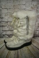 Womens Ravel White Lace Up Mid Calf Low Heel Winter Boots UK 6.5 EUR 40