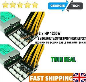 2 X HP PSU GPU 6 PIN 1200W Mining Power DPS-1200FBA 12 Ports Breakout Board