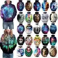 3D Graphic Print Couples Mens Womens Hoodie Hood Sweatshirt Tops Jumper Pullover