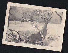 Old Vintage Antique Photograph Adorable Baby in Wicker Carriage Out in Snow