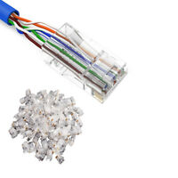 100 Pcs RJ45 Network Cable Modular Plug CAT5/5E 8P8C Connector End Pass Through