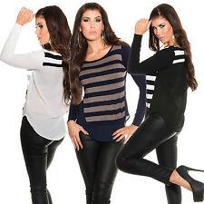 Damen 2-in-1 Pullover Pulli Sweater Hemd Krepp Bluse Layering Look Fein S 34 36