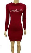 BEBE Rhinestone Logo Cinch Waist Off Shoulder Foldover Sweater Dress Medium Red