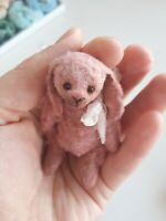 Miniature teddy bunny. Ooak art doll. Miniature rabbit