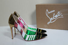 6.5 / 36.5 Christian Louboutin Bandy Multicolor Stripe Patent Leather Pump Shoes
