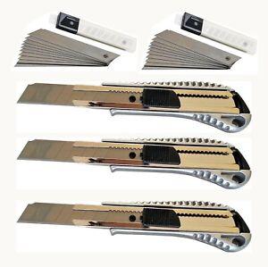Cuttermesser Teppichmesser 3 Stück 18mm u 20 Klingen Profi Cattermesser Messer A