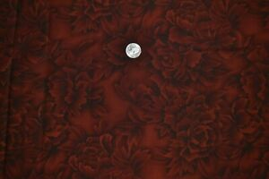 """Cotton quilting fabric 44"""" x 3.8 yards, floral print in brown/red, black"""
