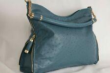 Authentic blue  Ostrich leather bag Luxury Lady's hand shoulder Designer bag