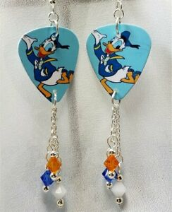 Donald Duck on Blue Background Guitar Pick Earrings with Swarovski Crystals