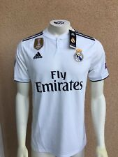 Real Madrid Home Soccer Jersey 2018 2019 Champions Patches Size L - New