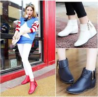 Womens Ladies Casual Shoes Round Toe Hidden Heel Side Zip Ankle Boots PU Leather