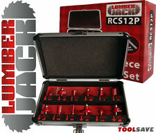 """LUMBERJACK 1/4"""" GAMBO 12 pezzi Cutter Router popolare Set di forma in caso di alluminio"""
