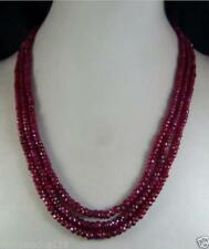 """3 Rows 2x4mm NATURAL RUBY FACETED BEADS NECKLACE 17-19"""""""