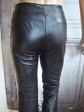 Pantalon SLIM Flare Cuir d'agneau noir Psyché Rock jean black 90's 34/36 ( XS )