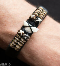 BRACELET en CUIR & MACRAME / DENT DE REQUIN & OS / SHARK TOOTH / BONE / LEATHER