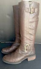 065e696aeb8 STEVEN STEVE MADDEN Brown Leather CASSEY Tall buckle RIDING MOTORCYCLE Boot  S 6