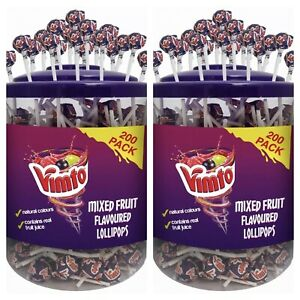 Vimto Original Mixed Fruit Flavored Lolly Lollies Lollipops Sweets Jar Tub 2x200