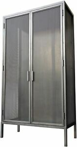 "82"" T Lindsi Hutch Dual Doors 3 Fixed Hardwood Shelves Within Steel Frame"