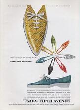 1962 Saks Fifth Avenue PRINT AD Snakeskin sneakers fun colorful decor