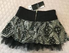 Royal Bones XS Black Mini Skirt Tulle Pleated Paisley Print Punk Goth Bandanna