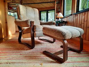 Armchair Club Chair Vintage Stool 60er Easy Chair & Ottoman Danish Westnofa Era