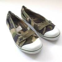 CALI SNEAKERS - Womens Teen Women Slip-On Shoes Ballet Canvas CAMO Size US 7.5