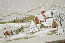 SLEIGH RIDE IN WINTER VILLAGE N MOUNTAINS! VTG GERMAN PRINT TABLECLOTH CHRISTMAS