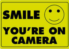 SMILE YOU RE ON CAMERA Warning Security Yellow Sign CCTV Video SurveillanceDecal