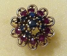 """""""Spares & Repairs""""Vintage Sapphire, Ruby &18ct Dome Ring Size K (U.S.size 5-1/2)"""
