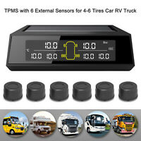 Wireless Solar TPMS LCD Car Tire Pressure Monitoring System + 6 External Sensors