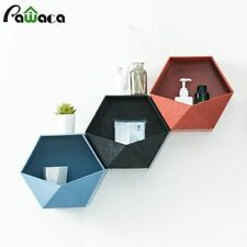Geometric Hexagon Storage Rack Wall Mount Floating Shelf Holder Wall Decoration