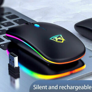 Slim Wireless LED Light Mouse Rechargeable Cordless Mice For PC Laptop + USB UK