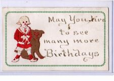 Novelty Postcard - Silk Embroidered Buster Brown and Tige Birthday Greeting