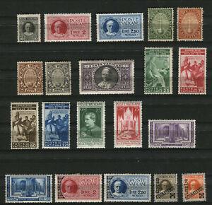 1929/1938 Vaticano Pio XI giro completo con servizi senza Provvisoria .MLH