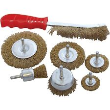 7pc HEAVY DUTY DRILL WIRE WHEEL CUP FLAT BRUSH METAL CLEANING RUST SANDING SET