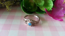 Beautiful Vintage Turquoise Flower Band Ring 925 Sterling Silver* Size 5.25*A328