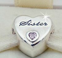 NEW Genuine Authentic Pandora Sister Love Heart Silver Charm Bead 925 ALE UK