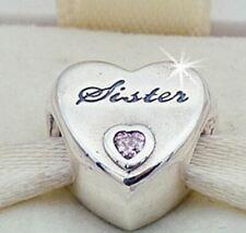 NEW Genuine Authentic Pandora Sister Love Heart Silver Charm Bead 925 ALE UK